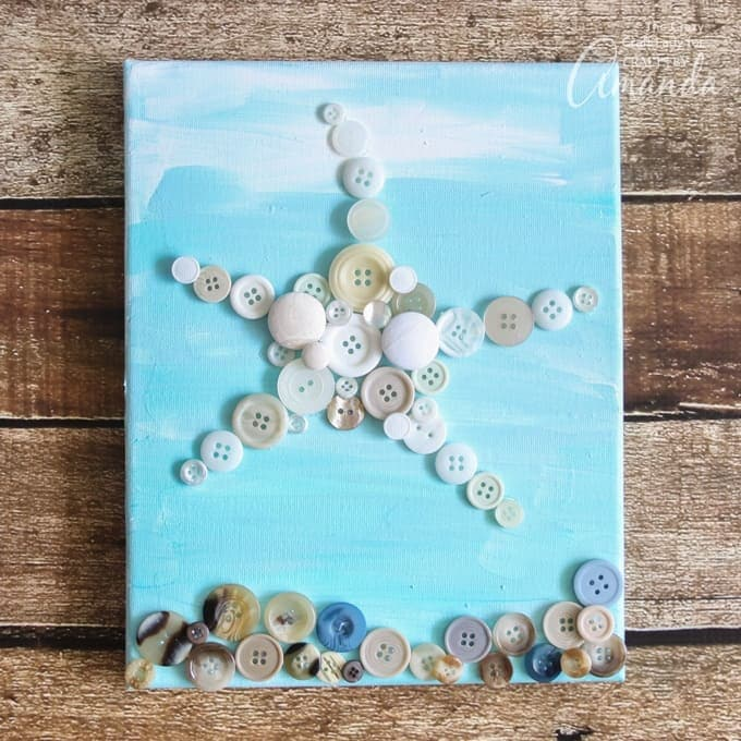 Buttons in the shape of a starfish on canvas