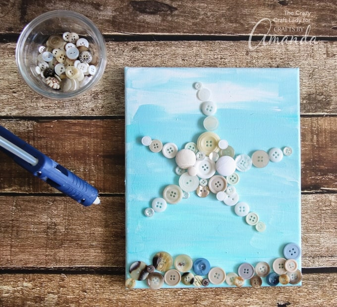 How to make Starfish Wall Art on canvas using buttons and paint