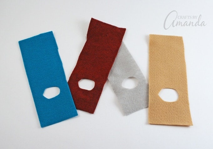 Cut tan felt into an 8-inch x 3-inch rectangle.