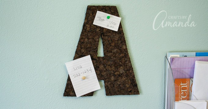 This corkboard wall letter is perfect for a teen's bedroom or a dorm room. This corkboard craft is really easy to make and very inexpensive.