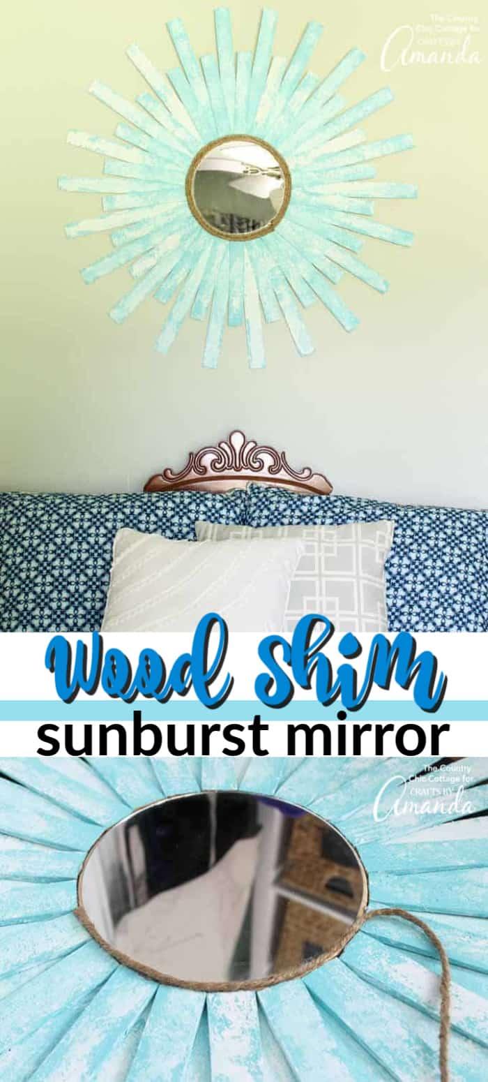 wood shim sunburst mirror pin image