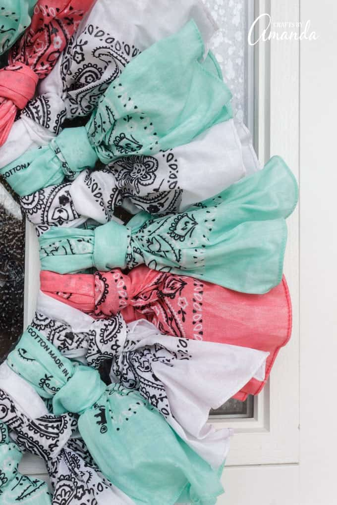 Light blue, pink, and white bandanas