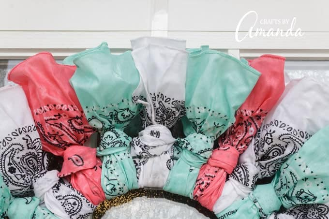 Colorful bandanas made into a wreath