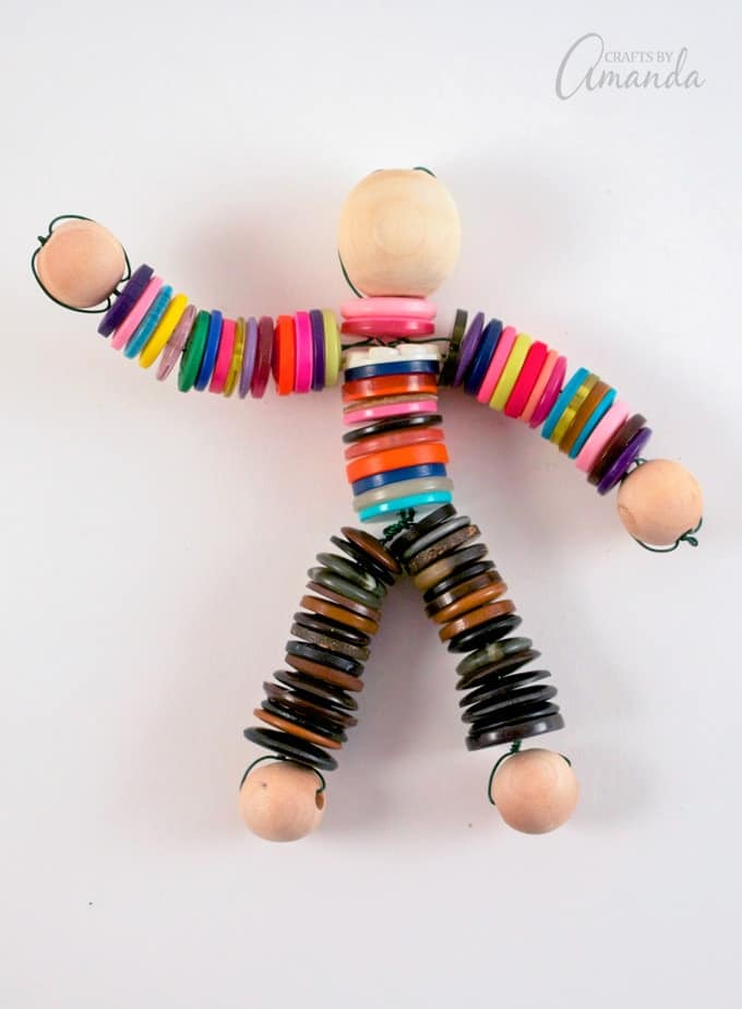 You could use this button doll tutorial with a group of adults (a great project for seniors too) or with children.