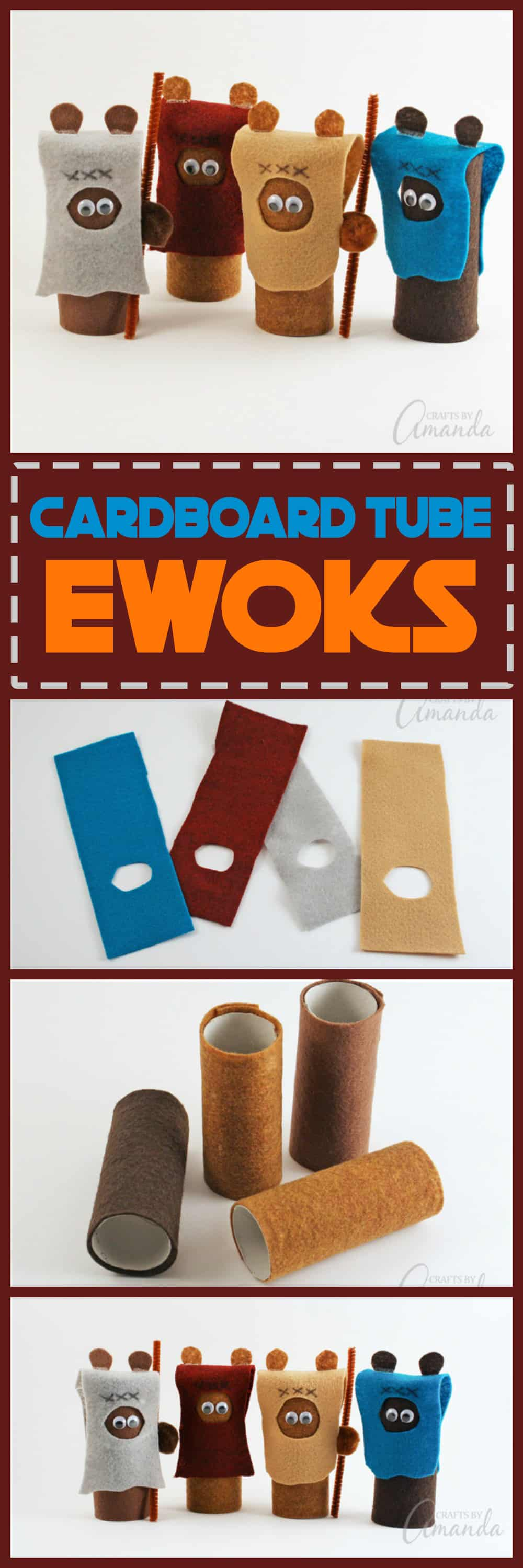 Are your kids Star Wars fans? These adorable cardboard tube ewoks are perfect! Not only a fun craft for kids but also great to play with when you're done!