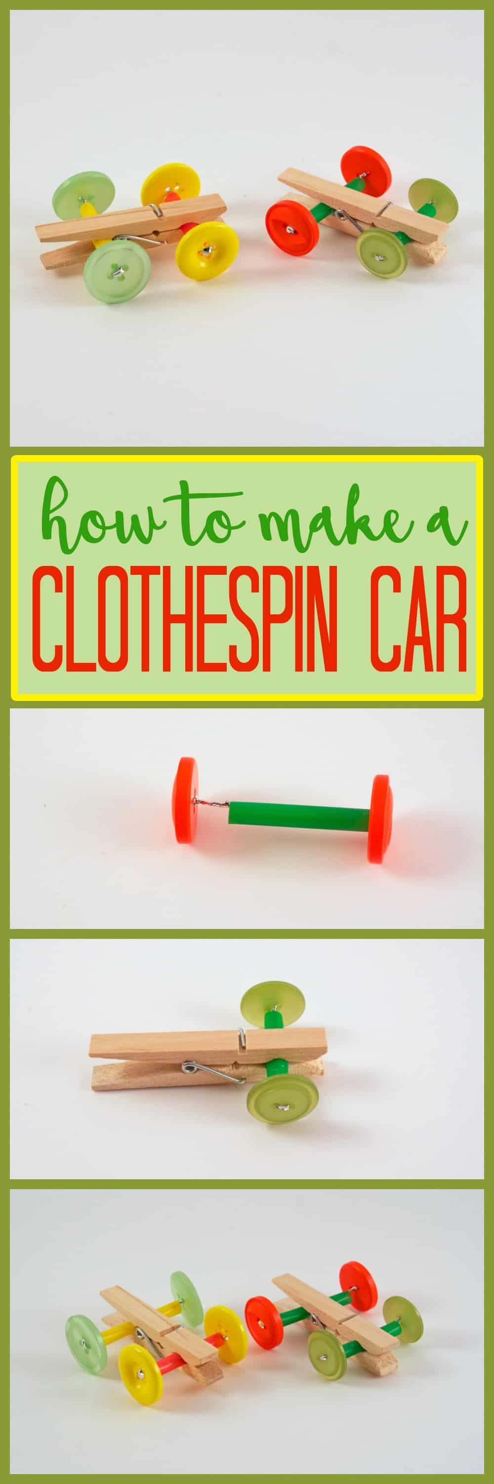 Clothespin car: made with clothespins, buttons, and some imagination. In no time you'll have your very own easy to make DIY toy!