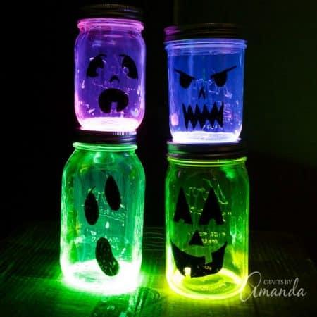 Fun to make glowing jack o lantern jars