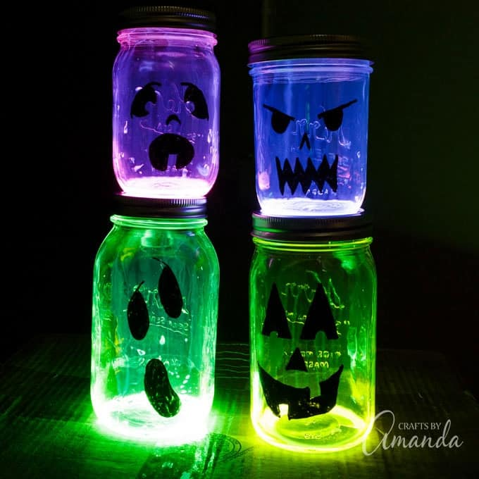 Fun to make glowing jack o lantern jars