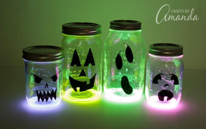 Glowing Halloween Jack O Lantern jars