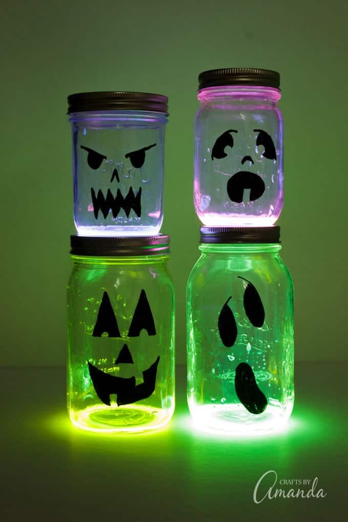 How to make glow stick Jack O Lantern Halloween luminaries!!