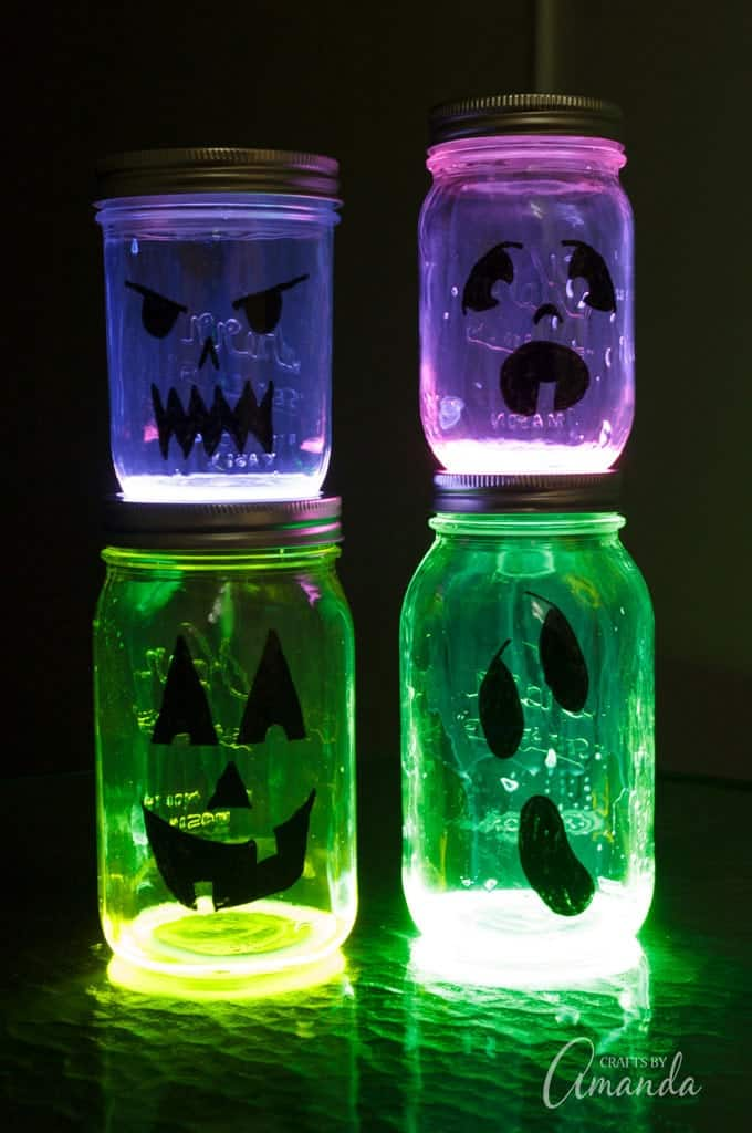 glow in the dark jack o lantern jars!