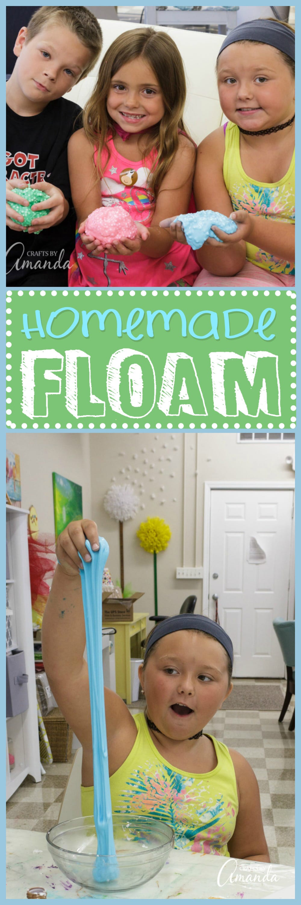 This simple recipe shows you how to make homemade Floam, a DIY slime packed with tiny foam balls that is full of texture and oh so fun to play with.