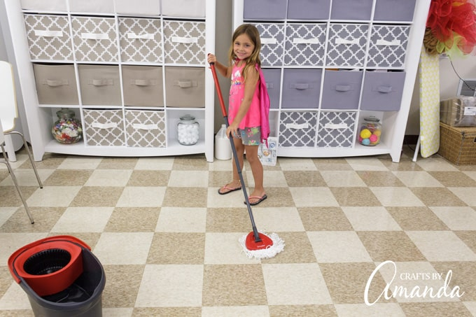 The cool spinning action of the O-Cedar EasyWring™'s bucket and the effortless foot pedal was so fun to use the kids wanted to help clean up after making their slime. So who was I to argue??