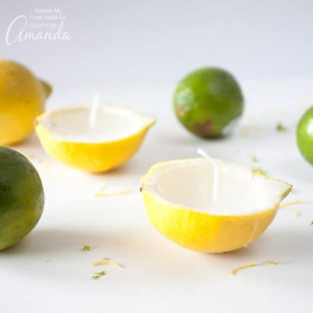 Make lemon lime votive candles using summer fruits like lemons, oranges, and limes. These citrus candles are great for summer BBQ's and parties.