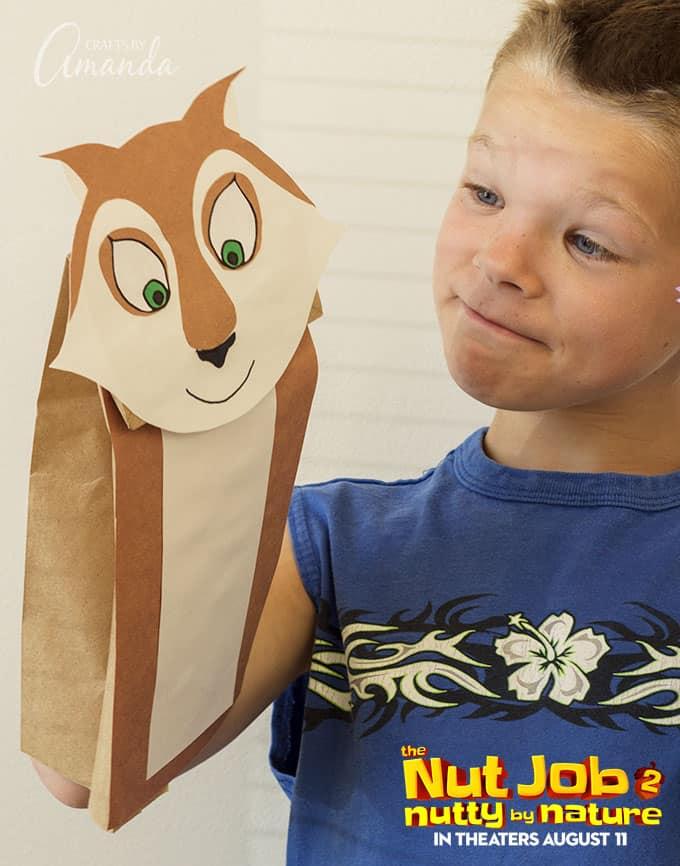 make a paper bag squirrel puppet