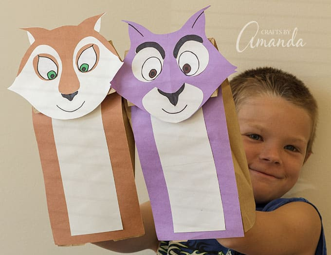 How to Make Paper Bag Squirrel Puppets