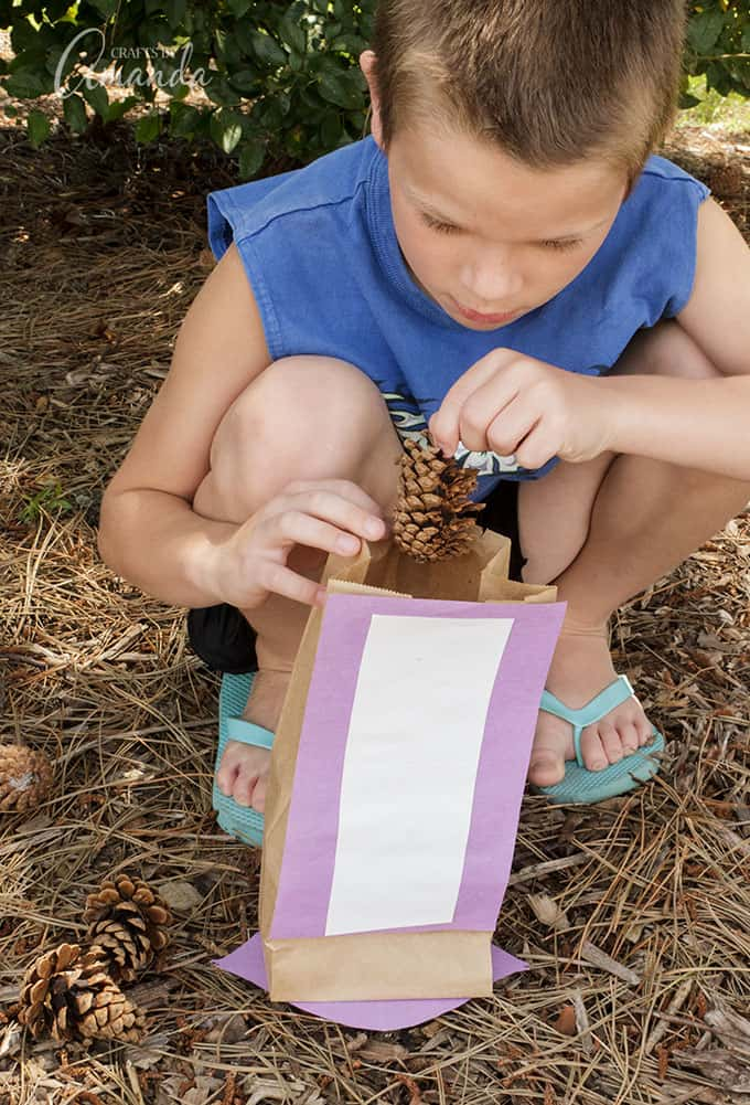 After you've had your puppet show, print out this scavenger hunt list and take your bags outside to collect your items. This printable list will encourage kids to snoop around their own backyard looking for rocks, twigs, leaves and other items from nature.