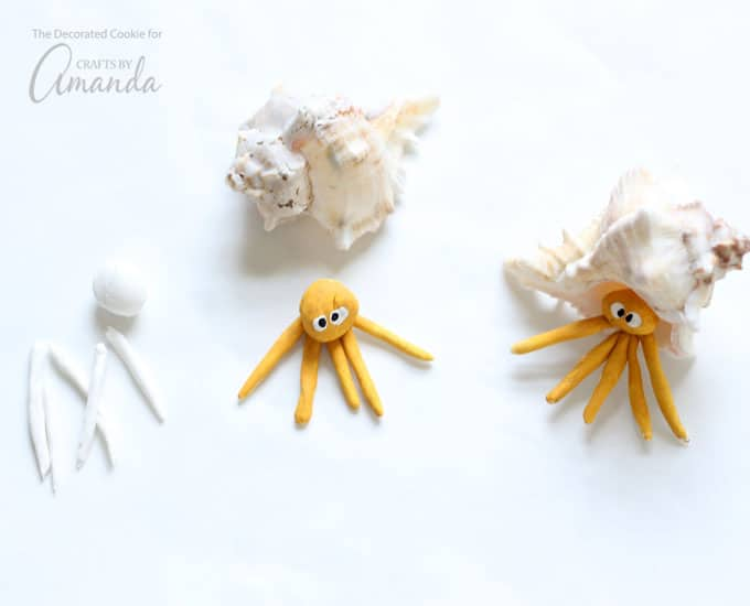 How to make sea shell creatures-hermit crab