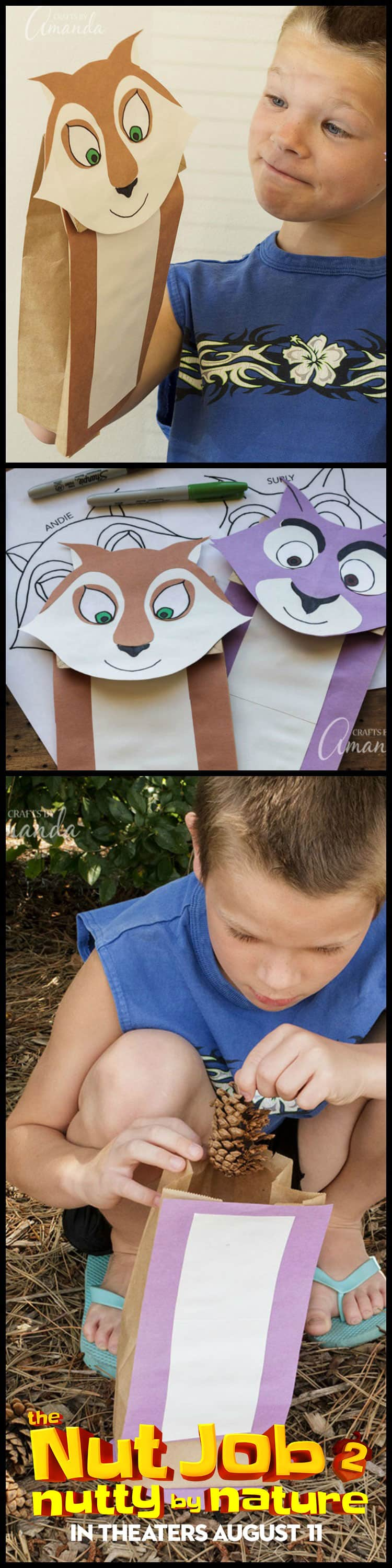 Make paper bag squirrel puppets to play out the scenes of the movie #TheNutJob2 - then head outside for a scavenger hunt! #sponsored