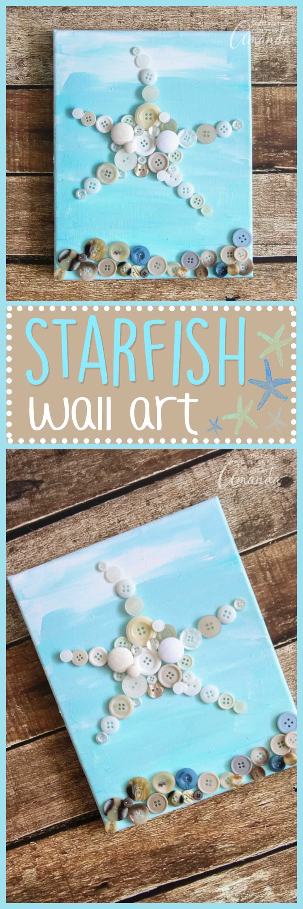 Make this simple starfish wall art with buttons and a canvas. This coastal craft is a great way to upcycle and reuse old buttons.