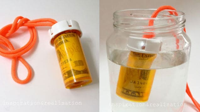 Roll up your bills inside a prescription pill bottle to hide or stash away for a rainy day.. and bonus - it's waterproof!