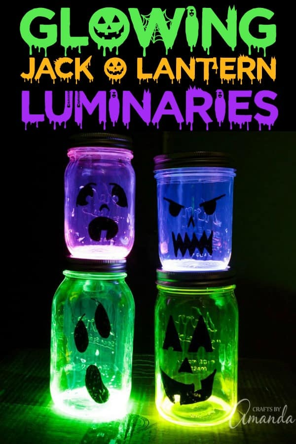 Glowing Jack O Lantern Jars!