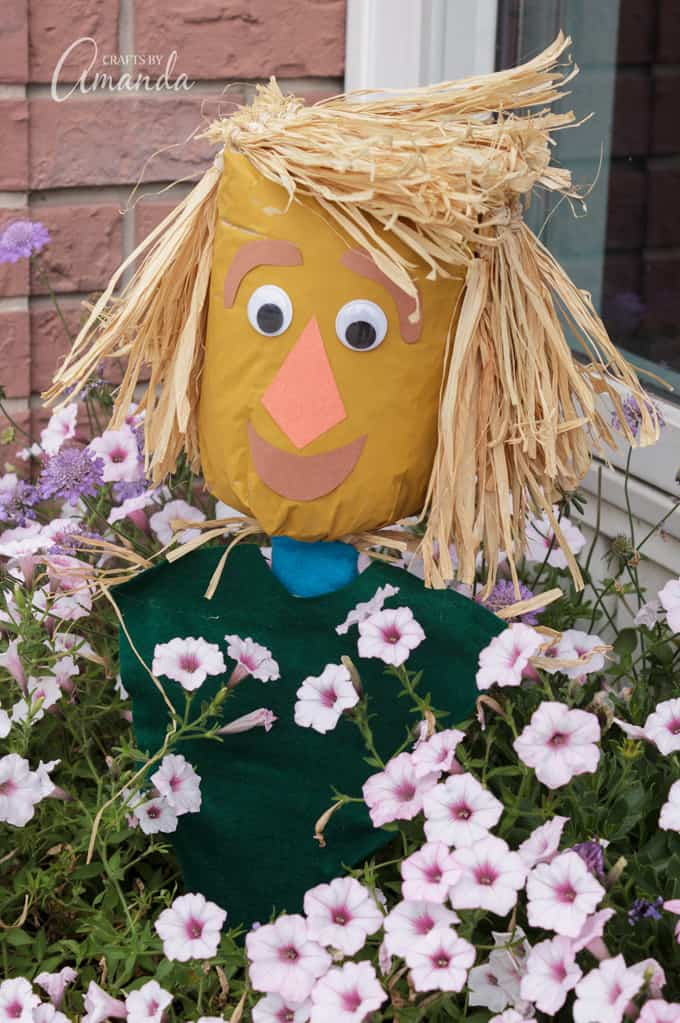Scarecrow puppet made out of a paper bag