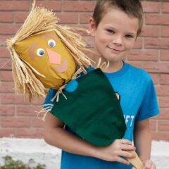 When you watch the show you'll find that the main character, Dorothy is a budding engineer, tinkerer and creative builder. Teaching you how to put together a scarecrow from a paper bag and a paint stir stick is right up her alley!