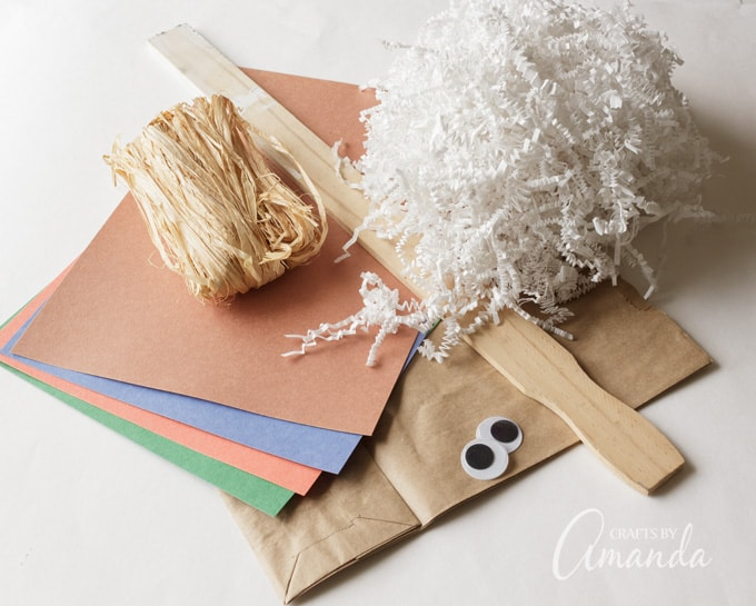 Supplies you will need to make a paper bag scarecrow