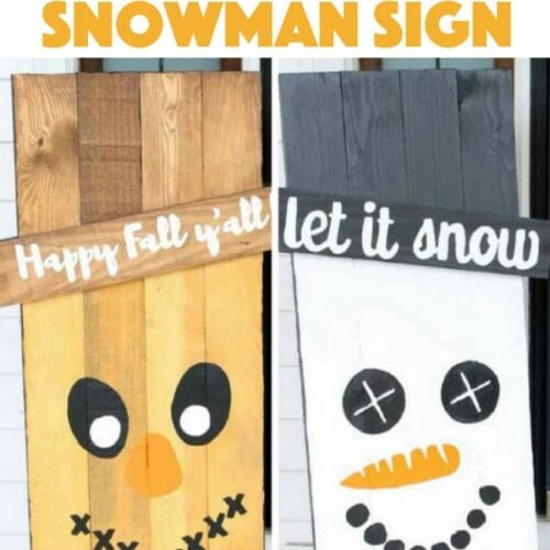 Reversible scarecrow snowman sign: it's actually much easier than it looks! Grab your supplies and get professional results with our simple tips and tricks. #diy #woodworking #fall #fallcrafts #scarecrow #snowmancrafts #adultcrafts #wintercrafts