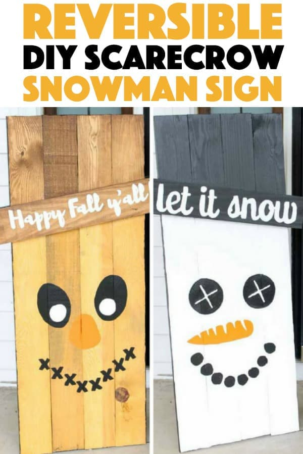 DIY Reversible Scarecrow Snowman Sign