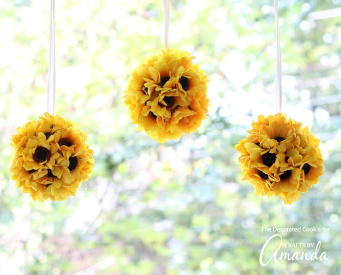 Sunflower Kissing Balls hanging