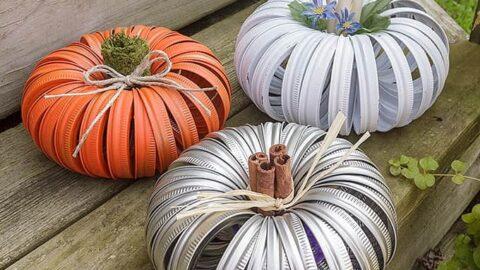 How to make mason jar canning lid pumpkins