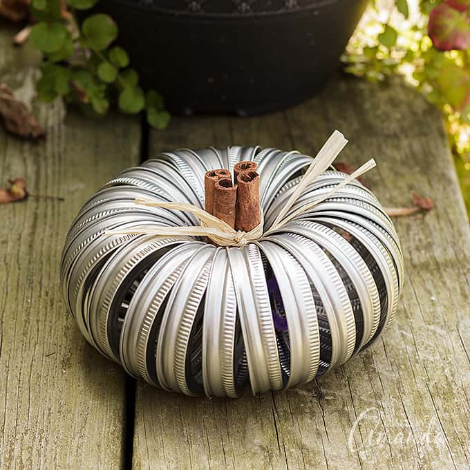 canning jar lid pumpkin with cinnamon sticks and raffia