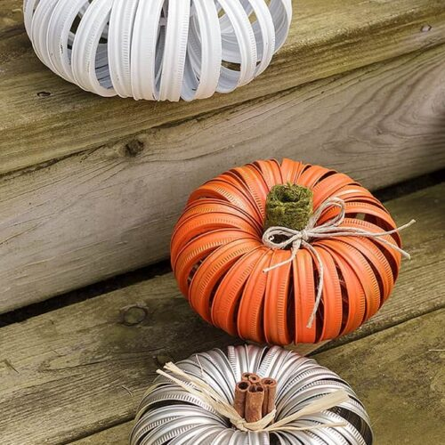 I know you've seen the adorable mason jar lid pumpkins around. They're a great way to add a little fall to your home decor and it's perfect for recycling your used canning lids.