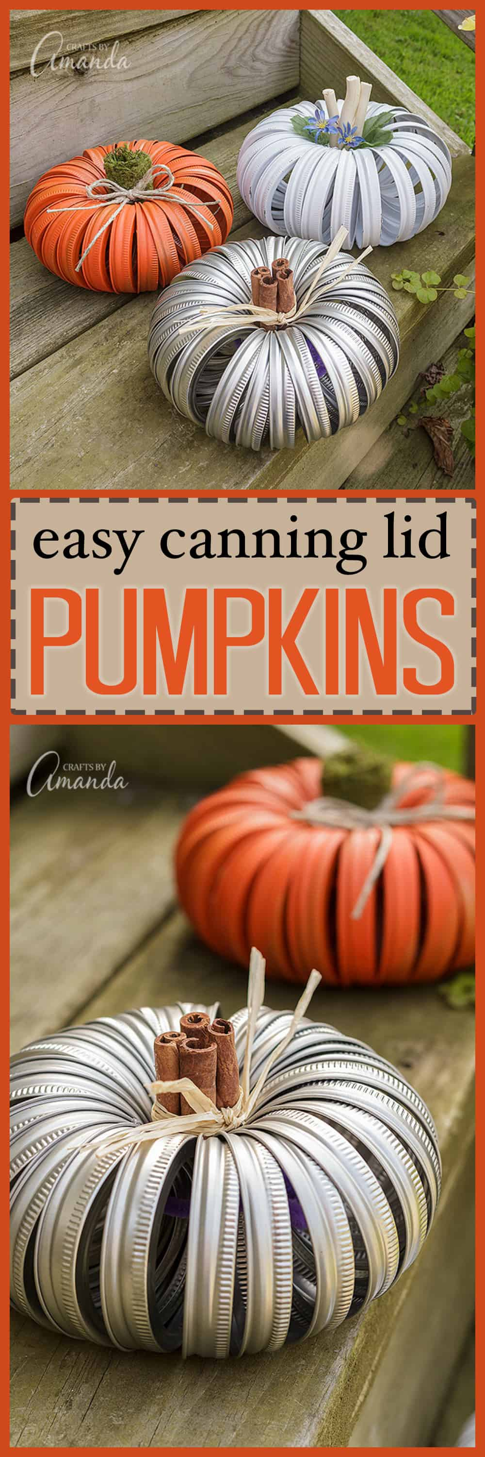 Surely you've seen the mason jar lid pumpkins on the web the last few years. Making a pumpkin out of canning lids is easy and there are several variations. #canninglidpumpkins #halloween #halloweencrafts #fallcrafts #thanksgivingcrafts #masonjar #masonjarcrafts