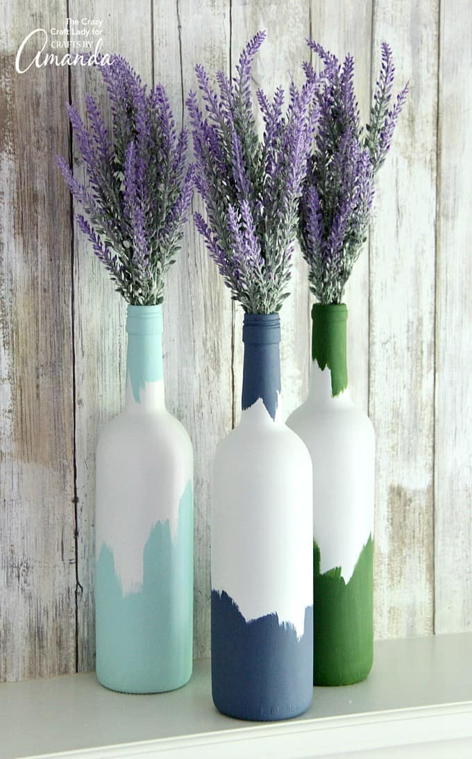 Painted Wine Bottles An Easy Upcycled Wine Bottle Craft
