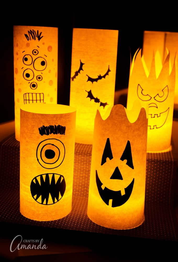 Halloween Luminaries, monsters, bats, and pumpkin faces!
