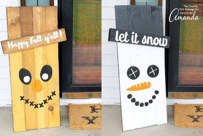 Reversible scarecrow snowman sign on front porch