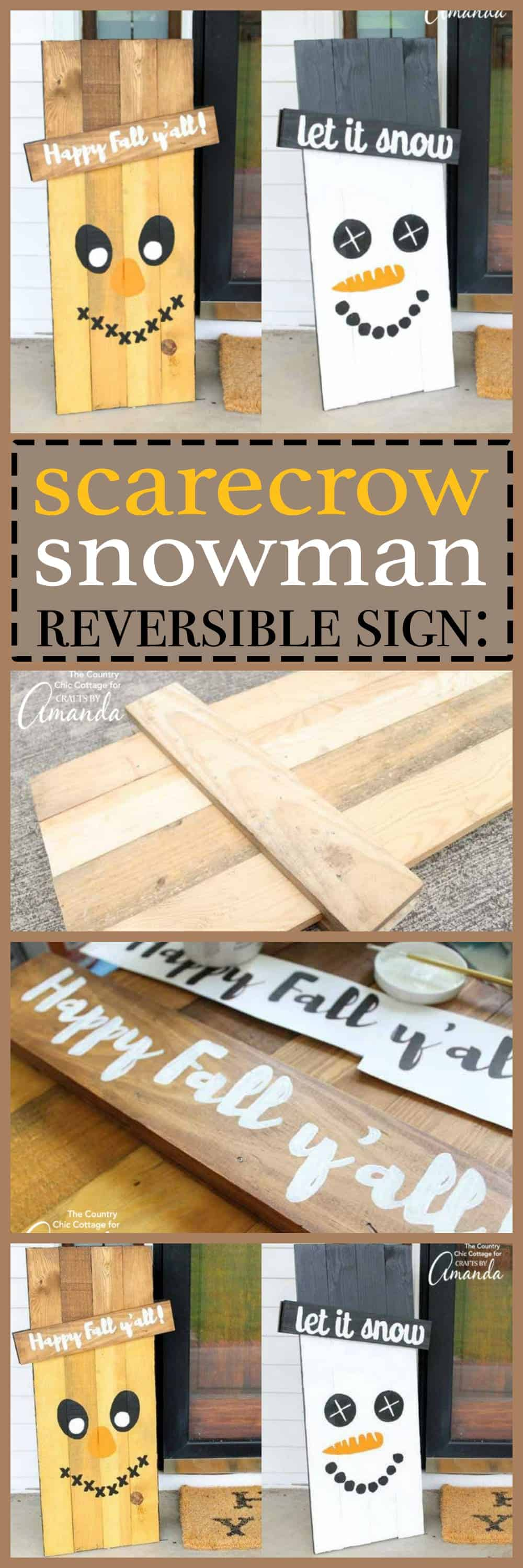 Reversible scarecrow snowman sign: it's actually much easier than it looks! Grab your supplies and get professional results with our simple tips and tricks.