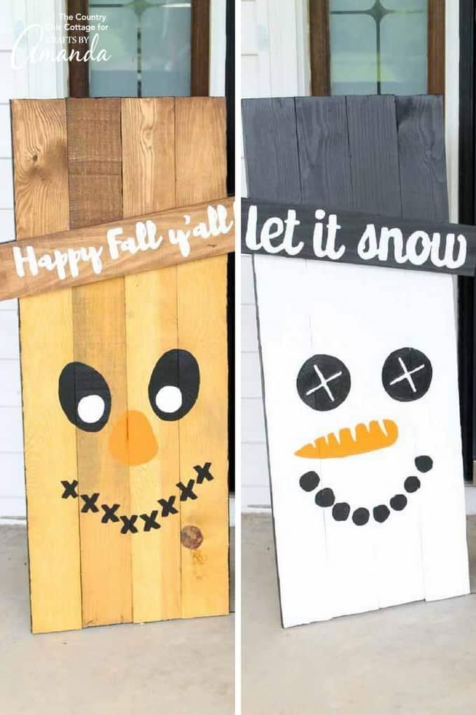 Reversible Scarecrow Snowman Sign