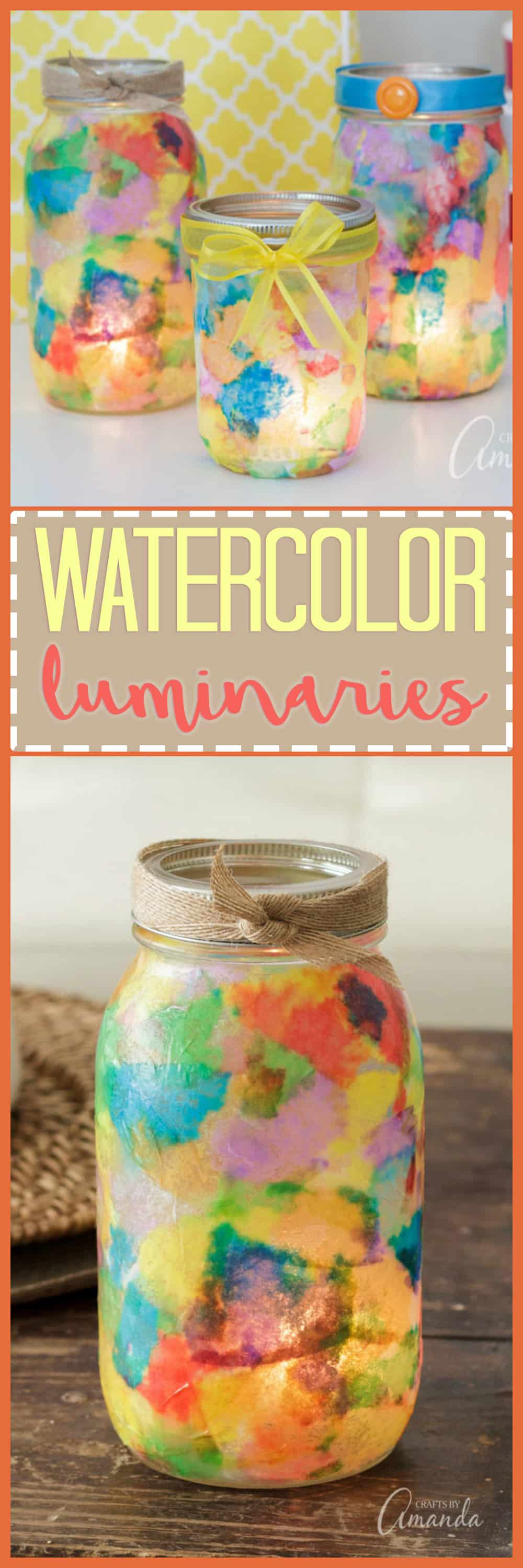 Create these beautifully colorful mason jar watercolor luminaries. The perfect DIY luminary for adults, kids and even seniors. Learn to make them today!