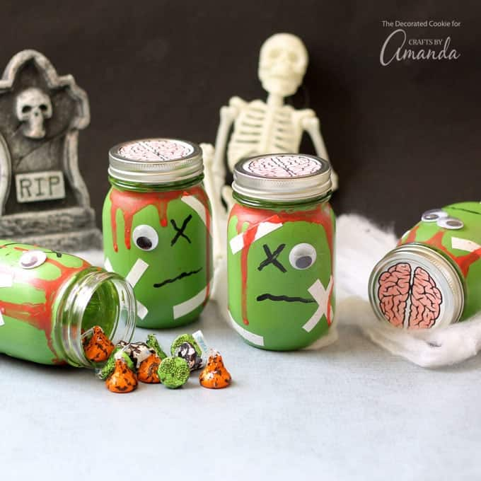 Zombie mason jars with candy filling