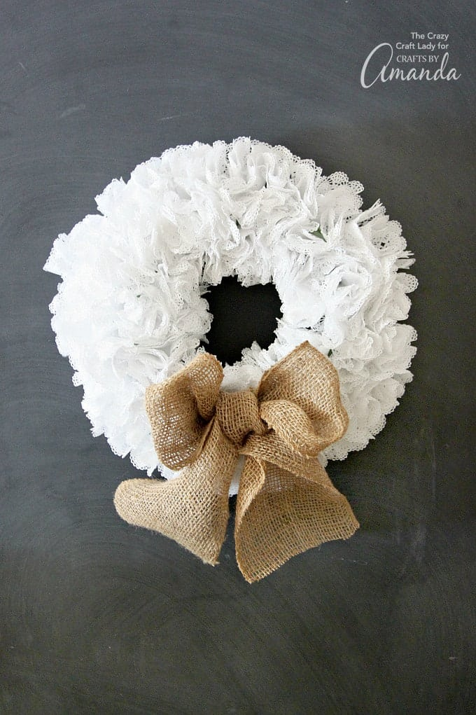 Beautiful wreath made out of doilies