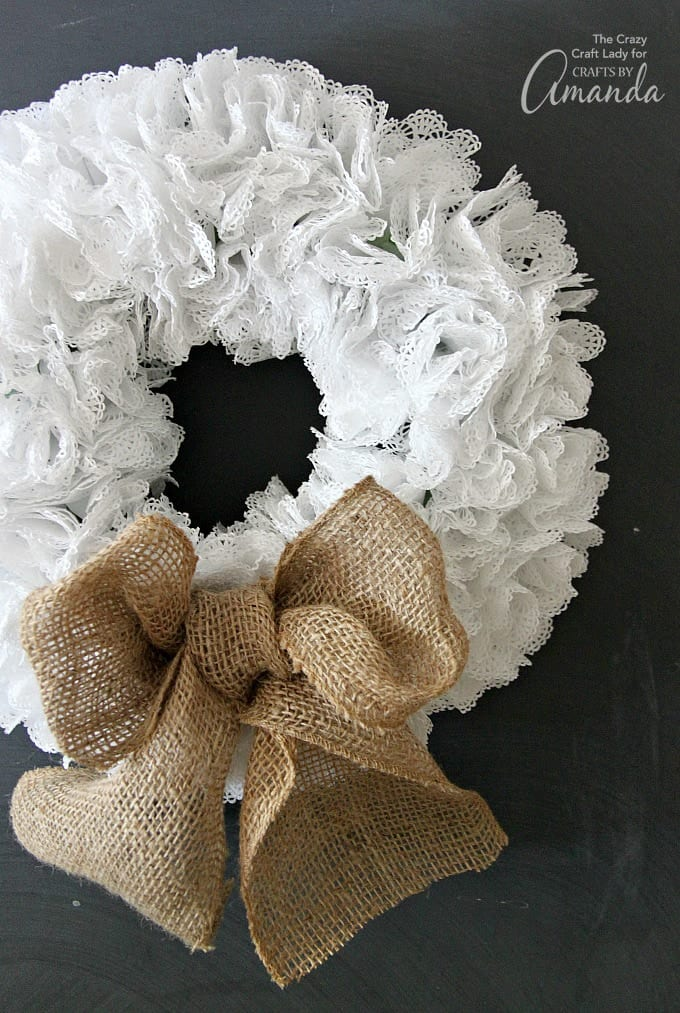 wreath made from doilies with burlap bow