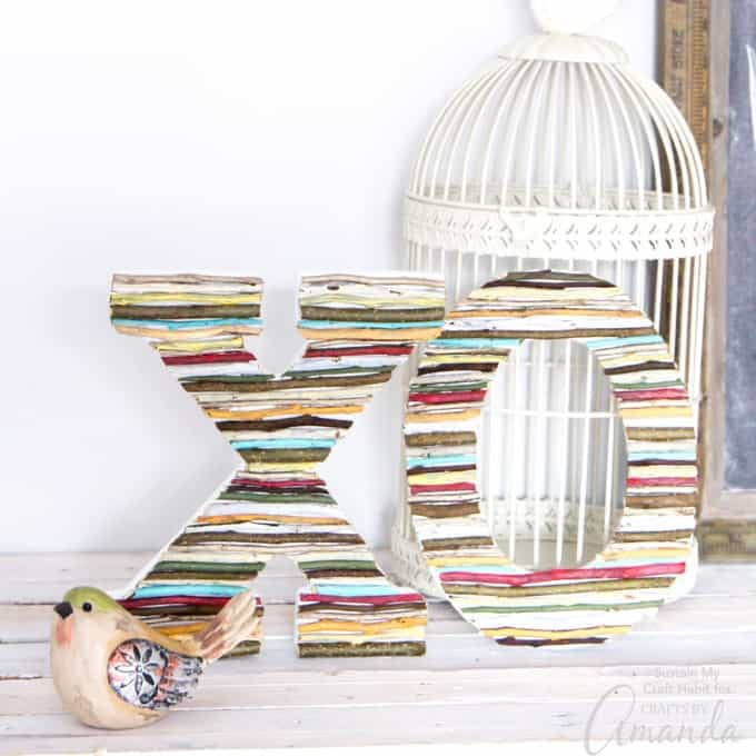 DIY painted twig wall letters decor
