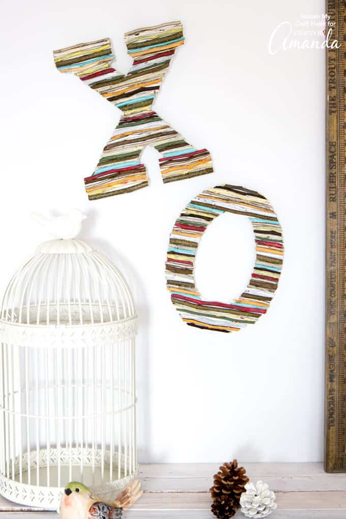 Painted Twig Letters hanging on wall