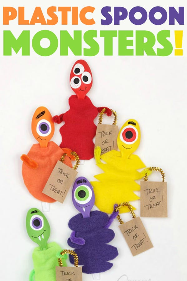 Plastic Spoon Monsters for Halloween
