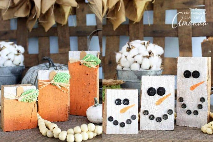 Reversible scrap wood pumpkins and snowmen