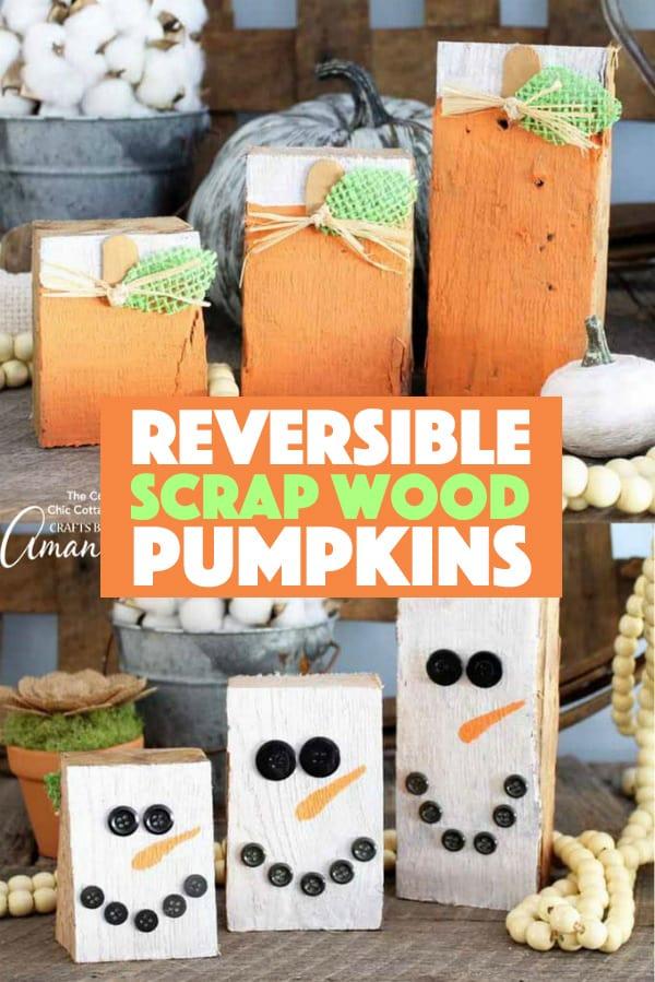 Reversible Scrap Wood Pumpkins